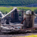 Dirty coal mine structures fossil energy resource Royalty Free Stock Images