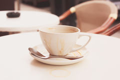 Dirty coffee cup and saucer Royalty Free Stock Photo