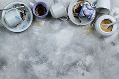 Dirty coffee cups stock images