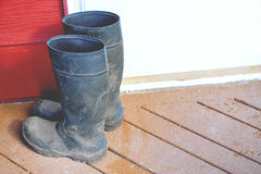 Dirty Country Boots Royalty Free Stock Photos
