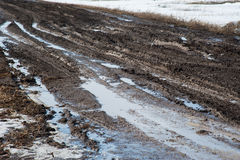 Dirty country road in spring Royalty Free Stock Photography