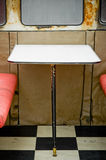 Dirty diner. Unhygienic diner table with rust around the windows and dirt on the floor Royalty Free Stock Photography