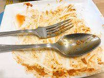 Dirty dish with food scraps. And sauce after eat Thai food Stock Photography