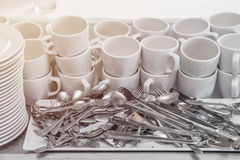 Dirty of dish and kitchenware waiting for wash Royalty Free Stock Images