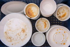 Dirty of dish and kitchenware waiting for wash Stock Image