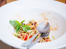 Dirty dish of spicy spaghetti. After eatten Royalty Free Stock Image