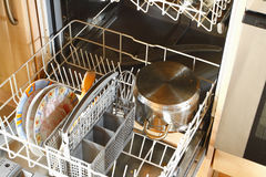 Dirty dishes. In dishwasher in the kitchen Stock Photography