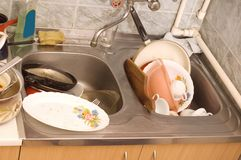 Dirty dishes Stock Images