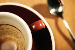 Dirty dishes. Finished cup of coffee selective focus Stock Image