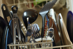 Dirty Dishes in Dishwasher Royalty Free Stock Image