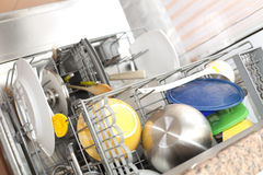 Dirty dishes in the dishwasher Royalty Free Stock Image