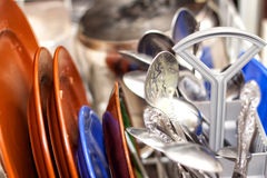 Dirty dishes in the dishwasher Royalty Free Stock Photos