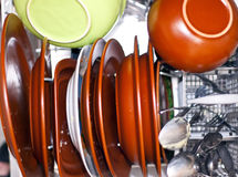 Dirty dishes in the dishwasher Stock Image