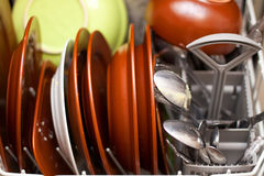 Dirty dishes in the dishwasher Royalty Free Stock Photo