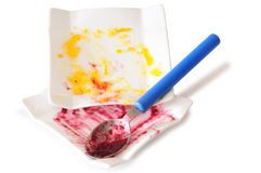 Dirty dishes. Isolated. Stock Photography