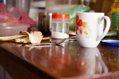 Dirty dishes in the kitchen. Home care royalty free stock photo