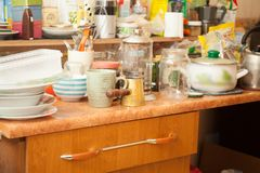 Dirty dishes in the kitchen. Home care stock photos