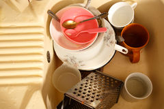 Dirty dishes in kitchen sink Royalty Free Stock Photography