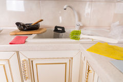 Dirty dishes and kitchenware Stock Images
