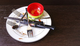 Dirty Dishes. Plate, cutlery and bowls Royalty Free Stock Images