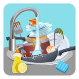 Dirty dishes plates and pans in sink under running water. Dirty dishes plates and pans in sink under water running from faucet and closeup of lemon liquid vector illustration
