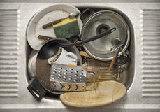 Dirty dishes in the sink Royalty Free Stock Images