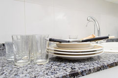 Dirty dishes Stock Photography