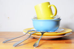 Dirty dishes on the table Royalty Free Stock Photos