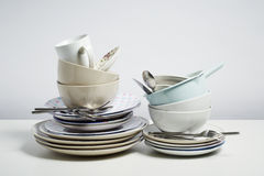 Dirty dishes on white background Royalty Free Stock Photo