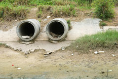 Dirty drain polluting a river Stock Image
