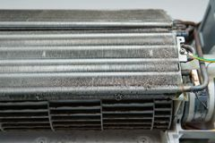 Dirty dust on air conditioner Coil Fins Royalty Free Stock Photos