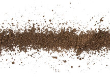 Dirty earth on white background. Stock Photo