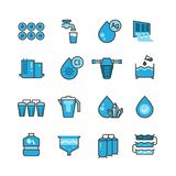 Dirty effluent water treatment plant and water filter for sewage sludge vector icons set. Sewage water, system purification illustration Royalty Free Stock Photo