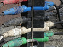 Dirty electrical cables outdoor Stock Image