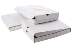 Dirty empty boxes on white background. White used cardboard box stack Stock Photos