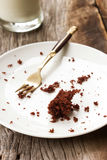 Dirty empty plate on wooden background. Stock Image