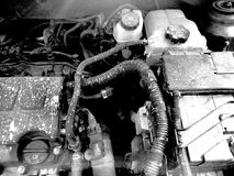 Dirty Engine. Engine Block with tubes and dirt stock photos