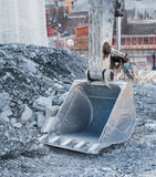 Dirty excavator shovel or bucket Stock Photo