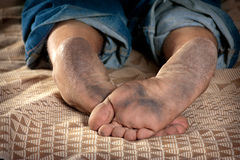 Dirty feet. Close up of very dirty feet of man Royalty Free Stock Image