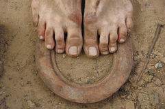 Dirty feet on the ground. Close-up of the dirty human bare feet standing on the earth Stock Images