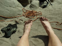 Dirty feet in the sand Royalty Free Stock Image