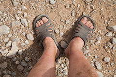 Dirty feet traveler Royalty Free Stock Photo
