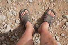 Dirty feet traveler Royalty Free Stock Photo