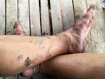 Dirty feet on the wooden floor stock photos