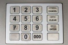 Dirty Fingerprints at ATM Keyboard stock photos