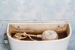 Dirty flush toilet mechanism Royalty Free Stock Image