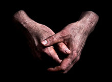 Dirty Folded Hands Royalty Free Stock Photos
