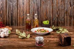 Dirty food still life on wooden background Stock Images