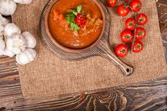 Dirty food still life on wooden background Stock Photos