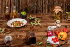 Dirty food still life on wooden background Stock Photo